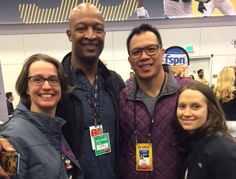 Lydia Bergen, director of operations for the Football Players Health Study (left), Alix Nozzolillo, associate director of player relations (right), with Nolan Harrison and Dat Nguyen, player advisors for the Study, at Super Bowl 50.