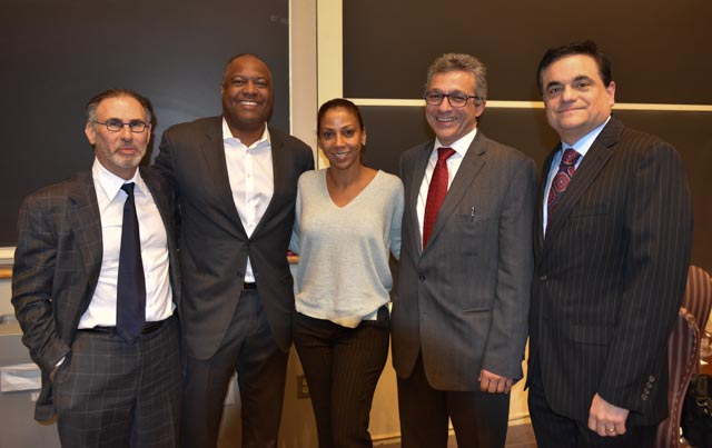 Lee Nadler, MD, principal investigator of the Football Players Health Study; Rodney Peete, player advisor, Holly Robinson Peete, family advisor; Alvaro Pascual-Leone, MD, PhD, co-director; Ross Zafonte, DO, co-director